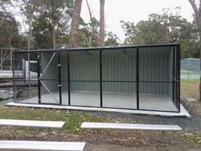 Wyong Sheds - black PVC coated mesh enclosure